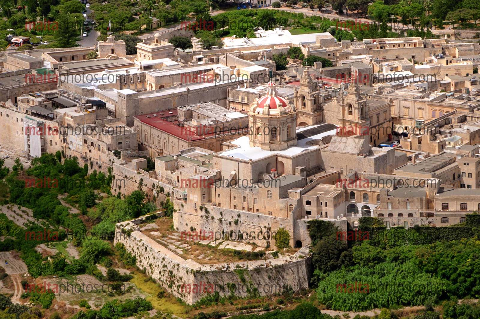 Mdina Cathdral Aerial Bastions Malta Photos