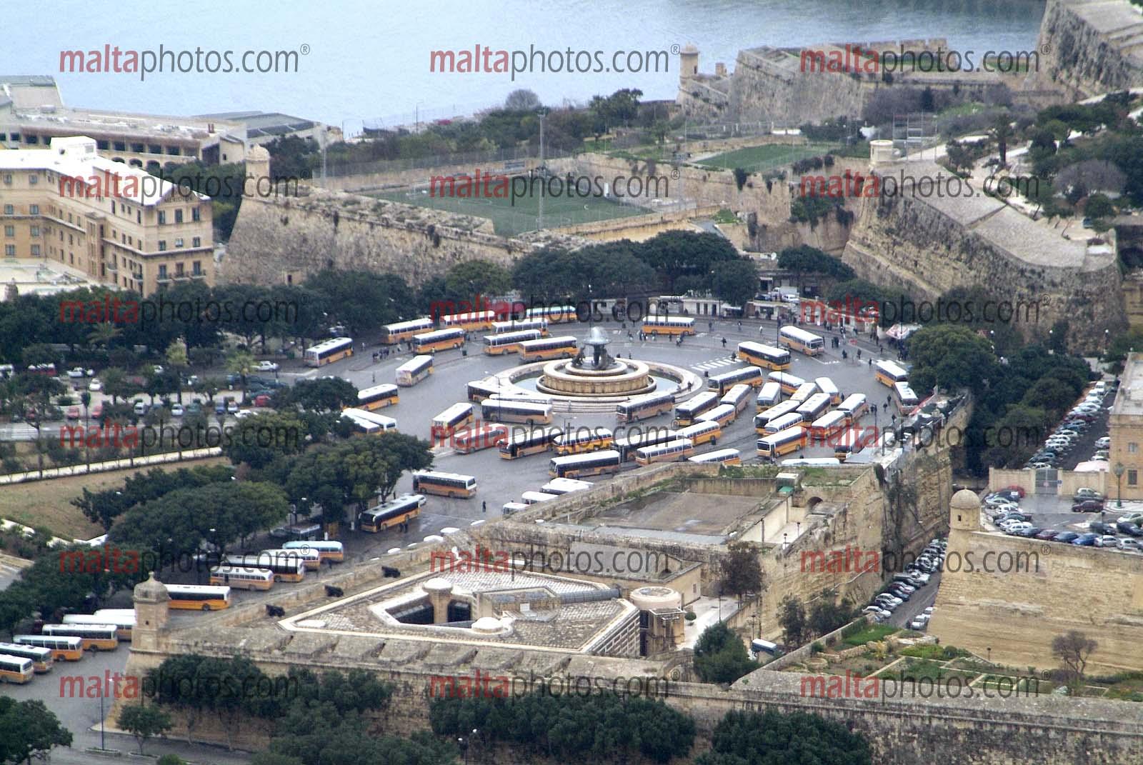 Valletta Aerial Old Buses Malta Photos