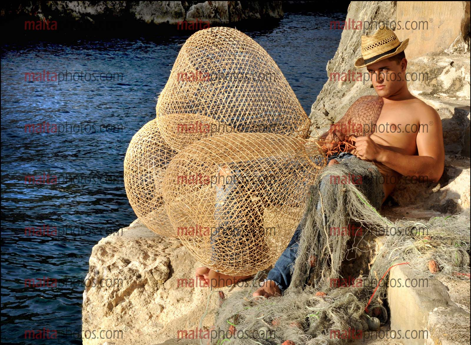 Fishing Fisherman Sea People Nets Malta Photos