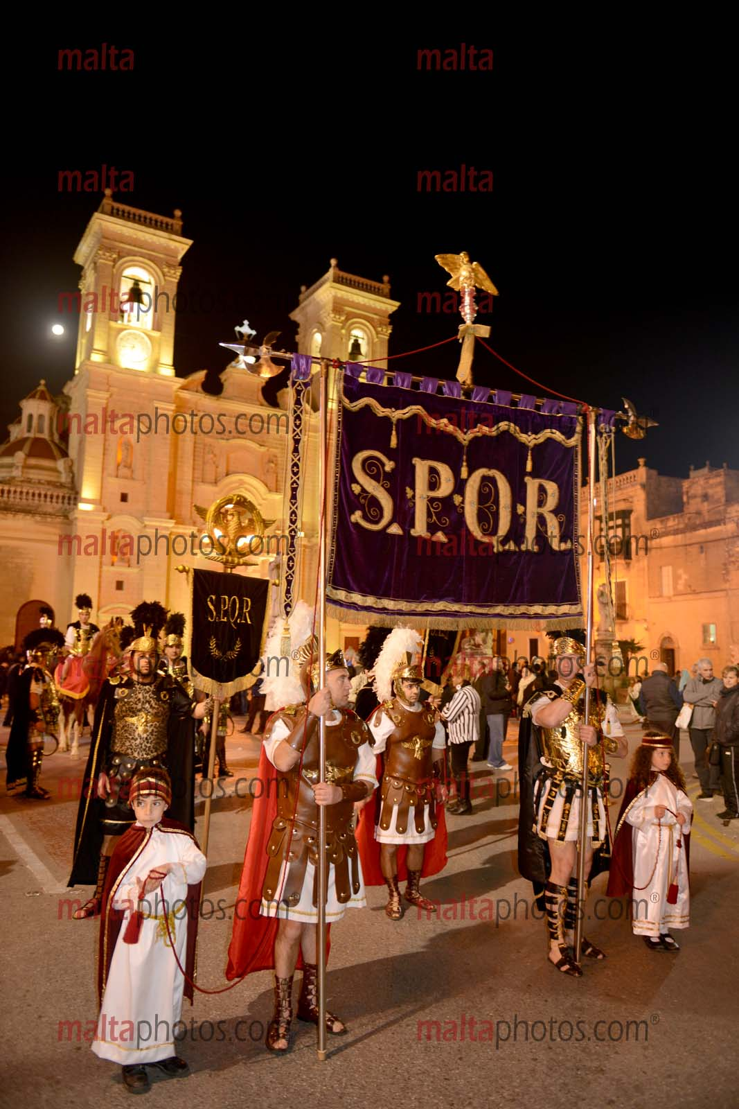Good Friday Zebbug Procession People Religion Religious SPQR Banner Roman  Soldiers