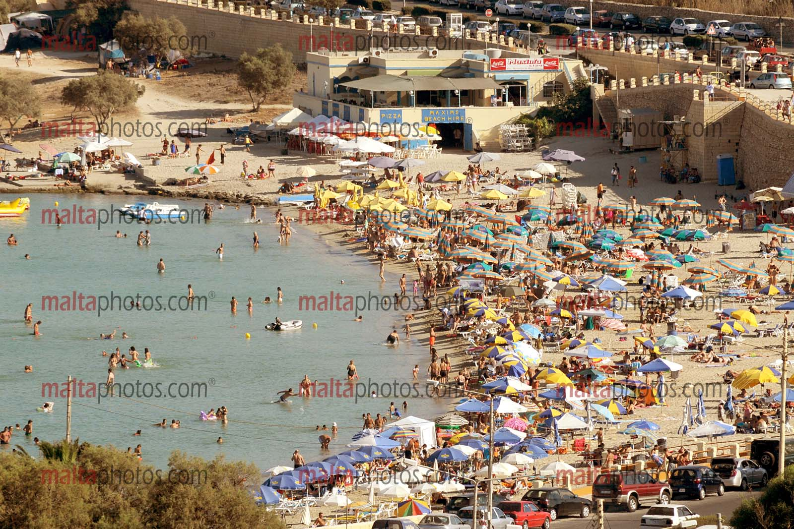 Mellieha Aerial Bay Swimming People Tourists Sandy Beach
